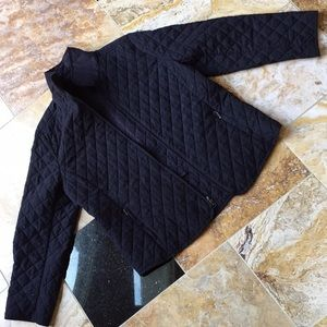 Coldwater Creek quilted black jacket/zipper front